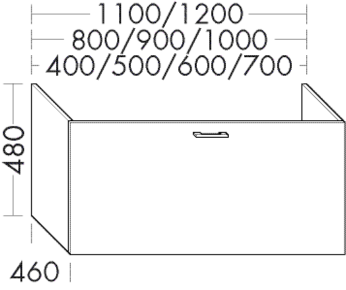 Image of Burgbad Waschtischunterschrank Sys30 PG2 480x1100x460 Weiß Hochglanz Rahmen, WSBA110F2223 WSBA110F2223