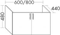 Burgbad Waschtischunterschrank zu M3 Sys30 PG2 480x800x440 Weiß Hochglanz, WVEH080461