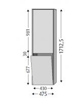 Sanipa Hochschrank links mit LED, Twiga Keramik SL11278 Weiss-Glanz