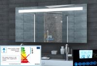Neuesbad LED Lichtspiegel mit Uhr, Radio, MP3, Touch Schalter, B:1200, H:600, T:55 mm