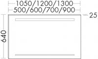 Burgbad Spiegel Essento A-M-L 640x1300x25 Essento A-M-L, SIHF130PN148