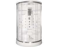 Neuesbad Design White Dampfdusche Halbrund 1100 x 1400 x 2150 mm, weiss