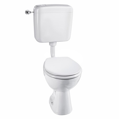 Stand-Tiefspül-WC, mit WC-Sitz mit Absenkautomatik, mit Spülkasten, Abgang waagerecht
