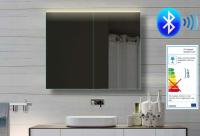 Neuesbad Alu LED Spiegelschrank mit Bluetooth Lautsprecher, B:820, H:700, T:120 mm