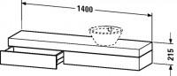 Duravit Konsole mit Schubkasten Fogo T:360, B:1400, H:215mm, FO83840