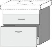 Sanipa Waschtischunterschrank 2morrow MN88752, Anthrazit-Hochglanz, H:605, B:550, T:475 mm