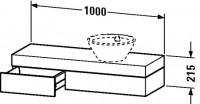 Duravit Konsole mit Schubkasten Fogo T:360, B:1000, H:215mm, FO83730