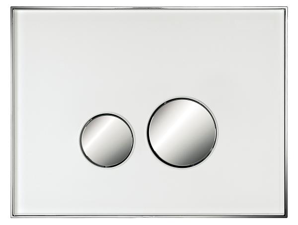 Neuesbad Betätigungsplatte mit runden Tasten, Glas, Farbe: Weiss, Tasten: chrom matt