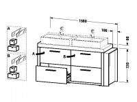Duravit Waschtischunterschrank stehend 2nd floor 580x1580x720mm