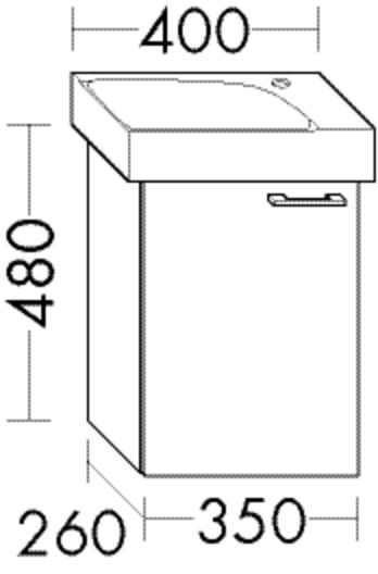 Burgbad Waschtischunterschrank Sys30 PG4 480x350x260 Schilf Hochglanz, WUVE035LF3362