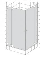 HSK K.26 Eckeinstieg, 2 Drehtüren mit 180°-Beschlag an Nebenteilen