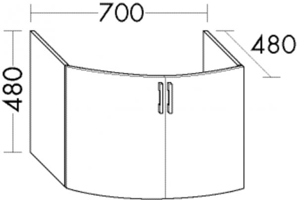 Burgbad Waschtischunterschrank Sys30 PG4 480x700x480 Anthrazit Hochglanz, WUYM070F3366