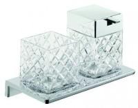 Emco Asio Doppelglashalter mit Kristallglas und Seifenspender klar geschliffen, Version 2, chrom/chr