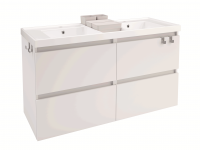 Cosmic B-Box Unterschrank 4 Schubladen mit Waschtisch glänzend 2 Becken, (120 cm), B05031201167