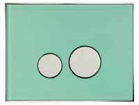 Neuesbad Betätigungsplatte mit runden Tasten, Glas, Farbe: Grün mattiert, Tasten: chrom glanz