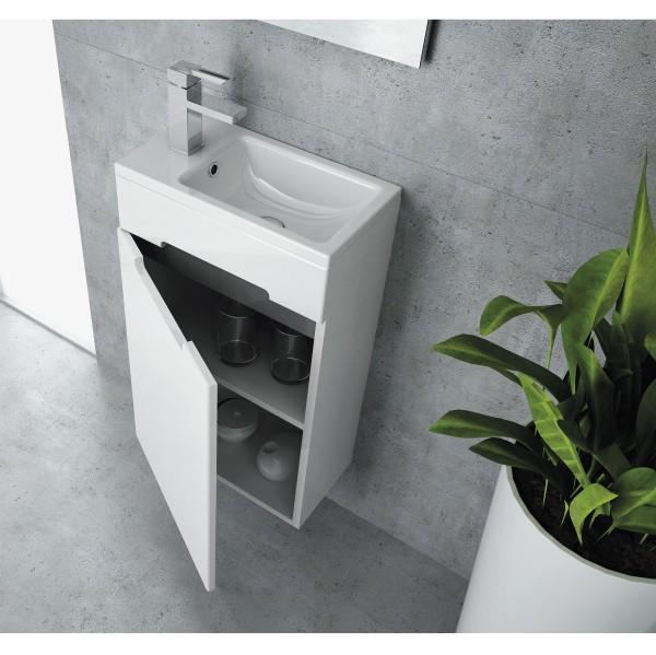 New Trendy Micra Gäste Waschtisch-Set, Anschlag links, 40x67x22cm, weiss hochglanz