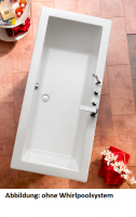 Acryl Badewanne Cubic 1800 x 800 mm, weiß mit Whirlpoolsystem Typ Premium, chrom