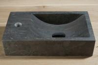 Naturstein Waschbecken, B: 400, T: 220, H: 100 mm, Version links, Material: Hartstein