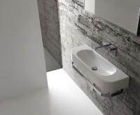 Globo Concept Waschtisch, B: 700, T: 270, H: 120 mm, ohne Hahnloch, weiss