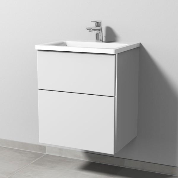Sanipa 3way Mineralguss-Set inkl. Mineralguss-Waschtisch und Waschtischunterbau mit 2 Auszügen, Weiß
