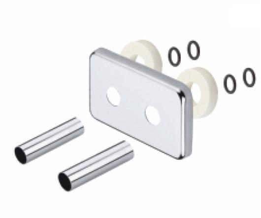 Terma Garnitur mit integrierter Blende für 50mm Anschlussabstand, chrom