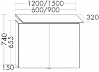 Burgbad Cala 1.0 Spiegelschrank SELE060, B:600, T:320, H:740mm, mit Waschplatzbeleuchtung