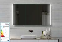 Neuesbad LED Spiegelschrank mit lichtleitendem Acrylstreifen, B:1400, H:720, T:130 mm