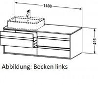 Duravit Waschtischunterschrank wandhängend Ketho T:550, B:1400, H:496mm, KT6657L F./K.: terra F./K.: