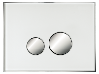 Neuesbad Betätigungsplatte mit runden Tasten, Glas, Farbe: Weiss, Tasten: chrom glanz
