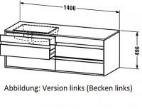 Duravit Waschtischunterschrank wandhängend Ketho T:550, B:1400, H:496mm, KT6857R , Front/Korpus: ter