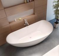 Riho Granada Solid Surface freistehende Badewanne 190 x 90 cm , weiss