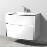 Sanipa TwigaGlas Waschtischunterbau mit Glas-Waschtisch, LED-Beleuchtung, Weiß-Glanz, SY23378