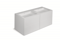 Cosmic Block Schrank 4 Schubladen mit 2 Waschtischen matt Ohne Hahnloch,B:1200, H:520, T:500 mm