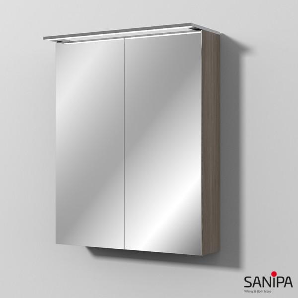 Sanipa Reflection LED-Spiegelschrank MALTE 60, Pinie-Grau, B:60, H:75, T:14,9cm, SD15014