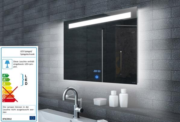 neuesbad lichtspiegel led beleuchtung uhr und touch schalter b 1000 h 650mm. Black Bedroom Furniture Sets. Home Design Ideas