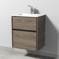Sanipa TwigaGlas Waschtischunterbau mit Glas-Waschtisch und 2 Auszügen, Pinie-Grau, SY22014