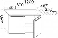 Burgbad Unterschrank bel Melamin 460x1200x350 Hacienda Schwarz, USAY120F0580
