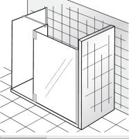 HSK Walk In K2 P 1 Glaselement + Seitenteil + freistehende Seitenwand