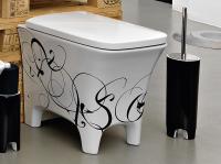 ArtCeram Cow Stand-Tiefspül-WC, B: 380, T: 520 mm, black lettering Dekor