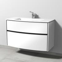 Sanipa TwigaGlas Waschtischunterbau mit Glas-Waschtisch und 2 Auszügen, Weiß-Glanz, SY22478