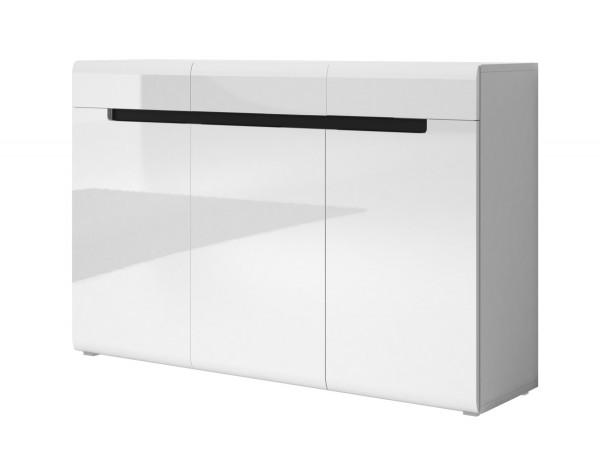 Sideboard HL1-45, 137 cm x 92 cm x 39 cm, weiss/weiss hochglanz/schwarz
