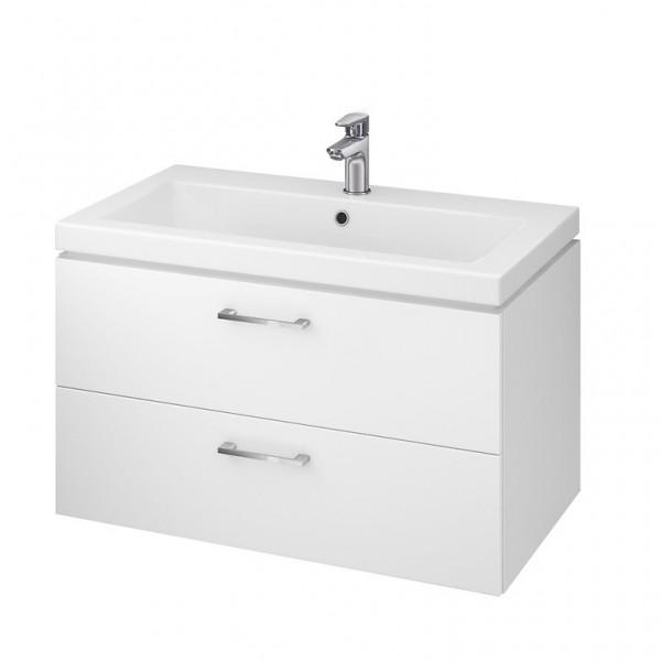 Neuesbad Serie 50 Waschtisch-Set 80cm, Keramikwaschtisch Version 2 mit Unterschrank, weiss