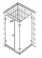 HSK Atelier Pur AP.21 Drehtür und Nebenteil und Seitenwand