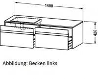 Duravit Waschtischunterschrank wandhängend Ketho T:550, B:1400, H:426mm, KT6897R