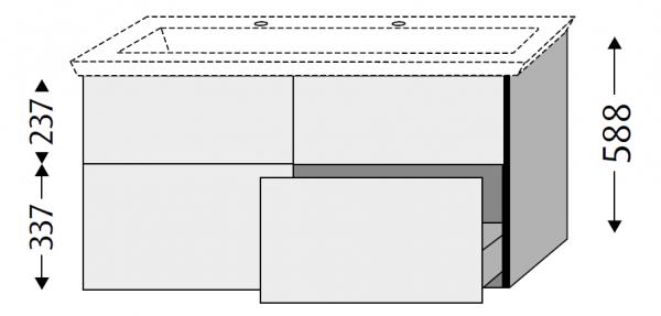 Sanipa 3way Waschtischunterschrank mit Auszügen BR81417, Ulme Impresso