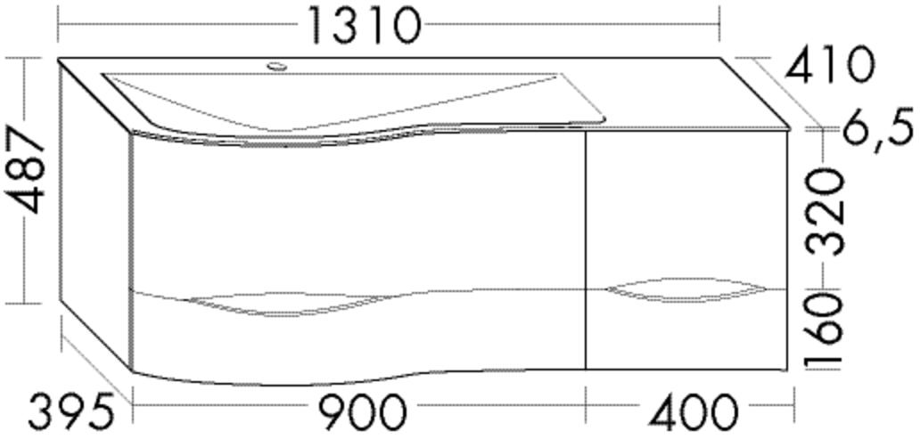 Image of Burgbad Mineralguss-Waschtisch und Waschtischunterschrank Sinea 2.0 Nussbaum Dekor Samt/Weiß Velvet, SFGY131RF2791C0037