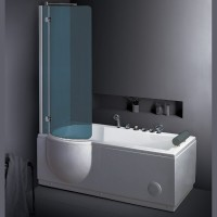 Neuesbad TS Duschbadewanne Whirlpool 168x 85, mit Duschabtrennung, Version links