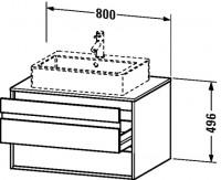 Duravit Waschtischunterschrank wandhängend Ketho T:550, B:800, H:496mm, KT6654