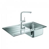 GROHE Spülen-Bundle K500 31573 mit Edelstahlspüle/Minta Küchenarmatur , 31573SD0