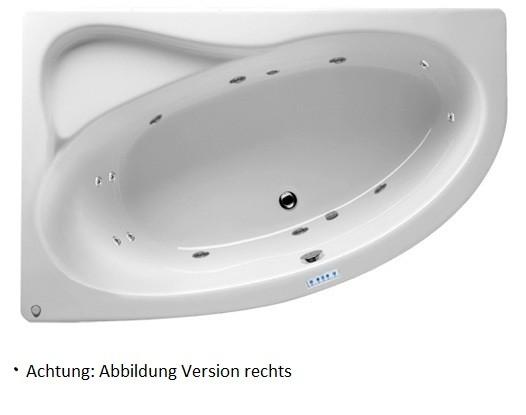 Riho Lyra Raumspar-Badewanne 170 x 110 cm, links mit Pro 6 und Farblichttherapie